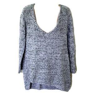 Zara Knit Oversized V-neck Black White Sweater